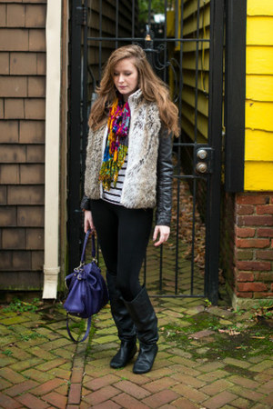 faux leather Zara jacket - purple leather kate spade bag - faux fur vest