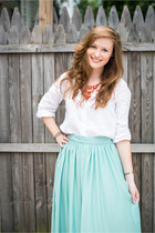 coral Stella & Dot necklace - high-low modcloth skirt