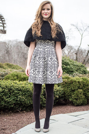 black modcloth dress - black black vintage cape