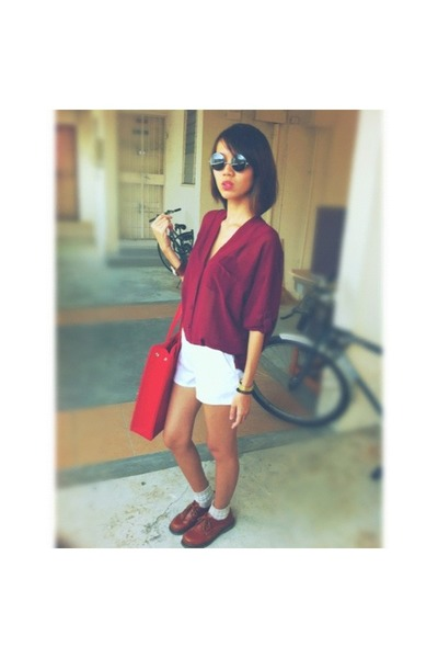 shear blouse - shoes - square bag - high-waisted shorts - checkered socks