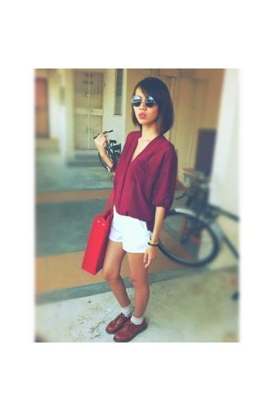 shear blouse - shoes - square bag - high-waisted shorts - checkered socks