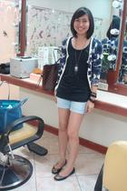 Topshop cardigan - rubi accessories - cotton on shorts - tory burch shoes