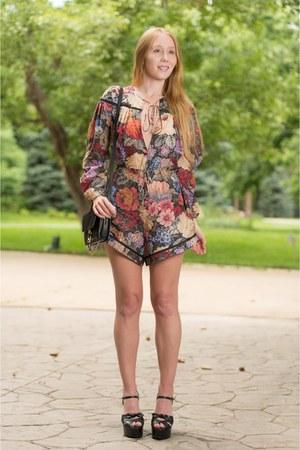 brick red floral Zimmermann romper - black suede Chloe bag