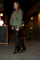 olive green quilted rag & bone jacket - black ankle alaia boots