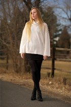 black lace ankle Givenchy boots - white turtleneck Nili Lotan sweater - black op