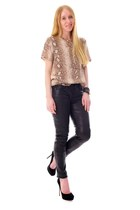 camel silk Python top - black skinny leather pants - black suede platform pumps