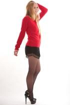 black Diane Von Furstenberg shorts - red sara IRO sweater - black Wolford tights