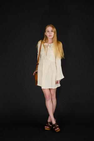 ivory bell sleeve Kiss The Sky dress - bronze tassel Chloe bag