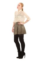 eggshell silk chiffon Equipment shirt - black alaia boots
