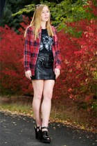 black panther civil clothing top - coral flannel plaid shirt