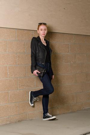 black leather IRO jacket - navy skinny citizens of humanity jacket