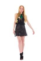 black leather Laser-cut skirt - black organza floral sandals