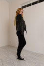 Black-skinny-level-99-jeans-black-leather-alc-jacket