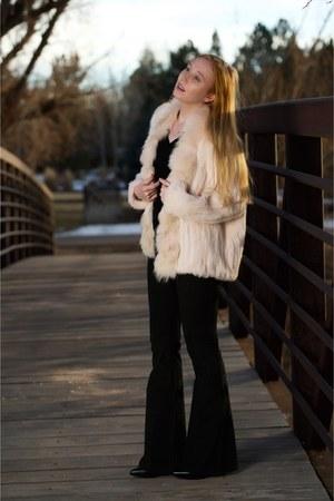 black western Saint Laurent boots - light pink fur Elizabeth and James coat