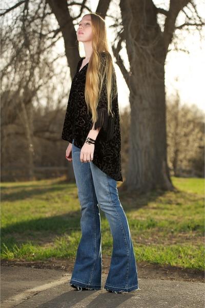 Black Miu Miu Boots, Blue Jimi Textile Elizabeth And James Jeans ...