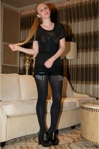 black opaque full Express tights - black madeline Siwy shorts - black Miu Miu cl