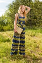 73f3a877ec19 blue jumpsuit m missoni romper - eggshell clutch Jimmy Choo bag