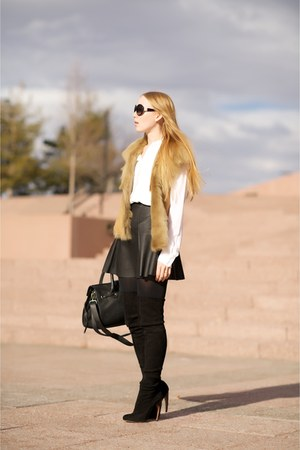 white silk Scalloped blouse - black suede Thigh high boots