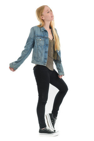 black skinny J Brand jeans - blue denim rag & bone jacket