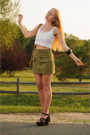 olive green mini Rebecca Minkoff skirt - brown shoulder Gucci bag