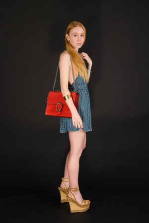 navy patterned ecote romper - red suede Gucci bag