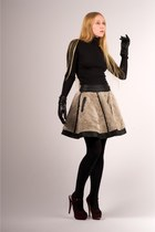 black opaque full Express tights - off white ADAM skirt - maroon mary-jane Prada