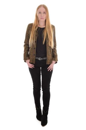 brown fringe Saint Laurent jacket - black wedge IRO boots