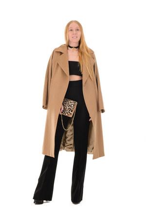 black ankle alaia boots - camel camel Max Mara coat - brown leopard Givenchy bag