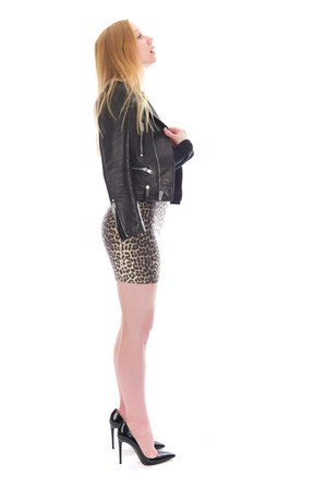 brown leopard asos skirt - black leather Saint Laurent jacket