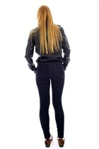 navy skinny legging jeans - black button leather shirt