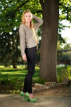 navy J Brand jeans - heather gray vince sweater - chartreuse margo python Charlo