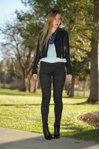 light blue denim Ombre shirt - black ankle leather boots
