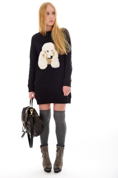 heather gray lara Jean-Michel Cazabat boots - black poodle Markus Lupfer dress