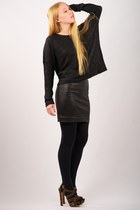 black the slouch vince sweater - black opaque full Express tights - black leathe