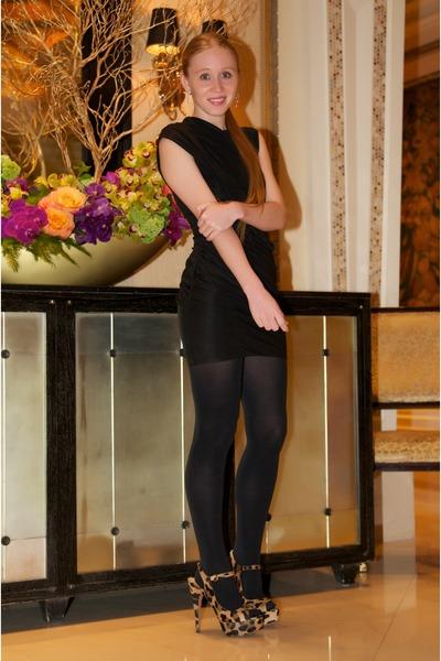black goddess Alexander Wang dress - brown Prada sandals - silver Chanel earring