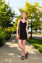 black strappy BDG dress - light pink fringe Latico Leathers bag