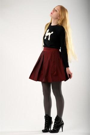 black Jill Stuart boots - black sasha poodle milly sweater - black herringbone J