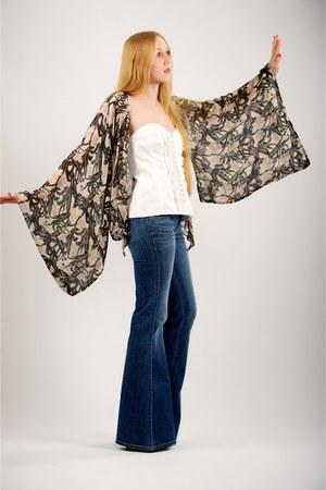 black Miu Miu boots - blue anita flare siwy jeans jeans - black Winter Kate jack