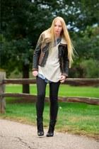 black Tibi jacket - black wynona ankle Dolce Vita boots - black Bleulab jeans