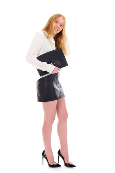 white silk Cully blouse - black leather clutch bag - black leather Croc skirt
