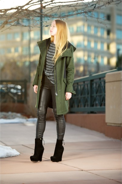 army green hooded parka coat - black suede Madge boots