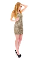 camel sequin La Femme dress - black patent Prada pumps