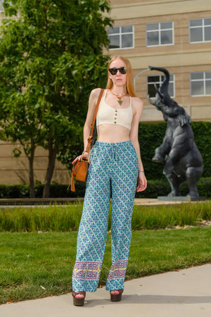 aquamarine ibiza Cameo Boutique pants - bronze tassel Chloe bag