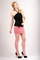 black cosmic suede Jimmy Choo pumps - pink Pleasure Doing Business skirt - black