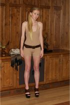 beige Erin Wasson x RVCA suit - brown Marni shoes - brown abercrombie and fitch