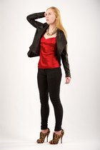 brown Christian Louboutin boots - black Bleulab jeans - black Helmut Lang jacket