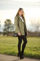 black platform suede boots - olive green parka army jacket