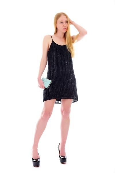 light blue clutch Python bag - black glass beaded dress