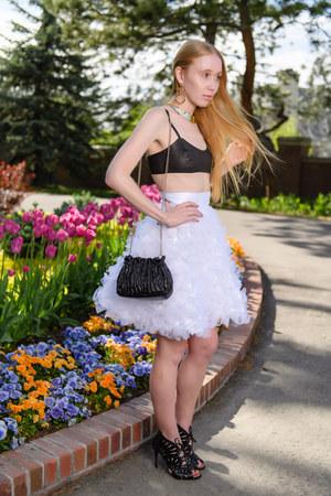 white tulle KitiKete Bespoke Clothing skirt - camel gold Amber Sceats earrings