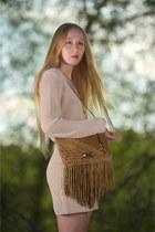 camel Jimmy Choo bag - tan slip ALC dress - maison scotch sweater